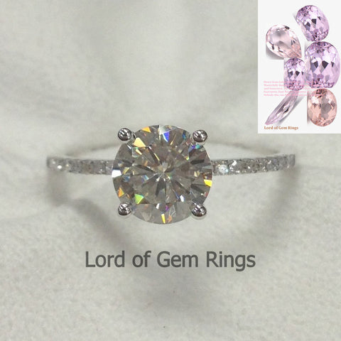 Ready to Ship - Moissanite Engagement Ring with Pave Diamonds in 14K White Gold - Lord of Gem Rings - 1