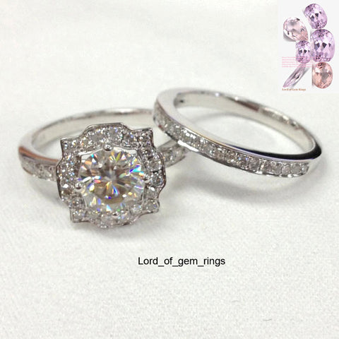 Reserved for lfolgher_0 1st payment, Moissanite Diamond Engagement Ring Bridal Set  Pave Diamond Wedding 14K White Gold - Lord of Gem Rings - 1