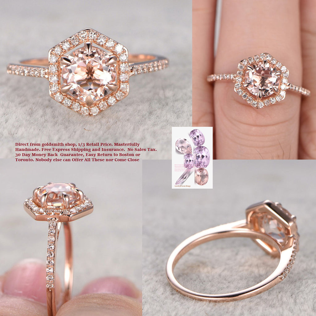 Reserved for Sarah H Round Morganite Engagement Ring Diamond Hexagon Halo 14k Rose Gold 8mm