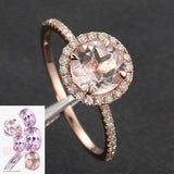Round Morganite Engagement Ring Pave Diamond Wedding 14K Rose Gold 7mm - Lord of Gem Rings - 2