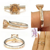 Round Morganite Cathedral Ring Bridal Set Pave Diamond Wedding 14K Rose/White Gold 8mm