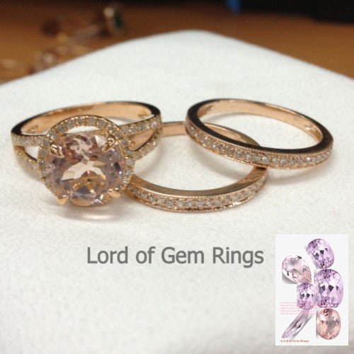 Reserved for bnbrooks1986. shipping cost  Round Morganite Engagement Ring Trio Sets Pave Diamond - Lord of Gem Rings - 1