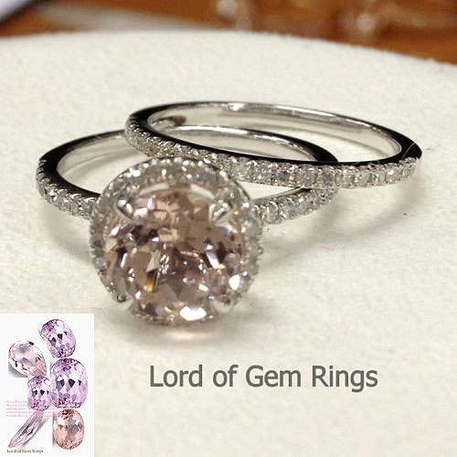 Ready 2 Ship: Round Morganite Engagement Ring Sets Pave Diamond Wedding 14K White Gold 7mm: 14KW-7RMorg - Lord of Gem Rings - 1