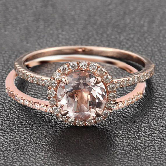 Round Morganite Engagement Ring Sets Pave Diamond Wedding 14K Rose Gold 7mm - Lord of Gem Rings - 1