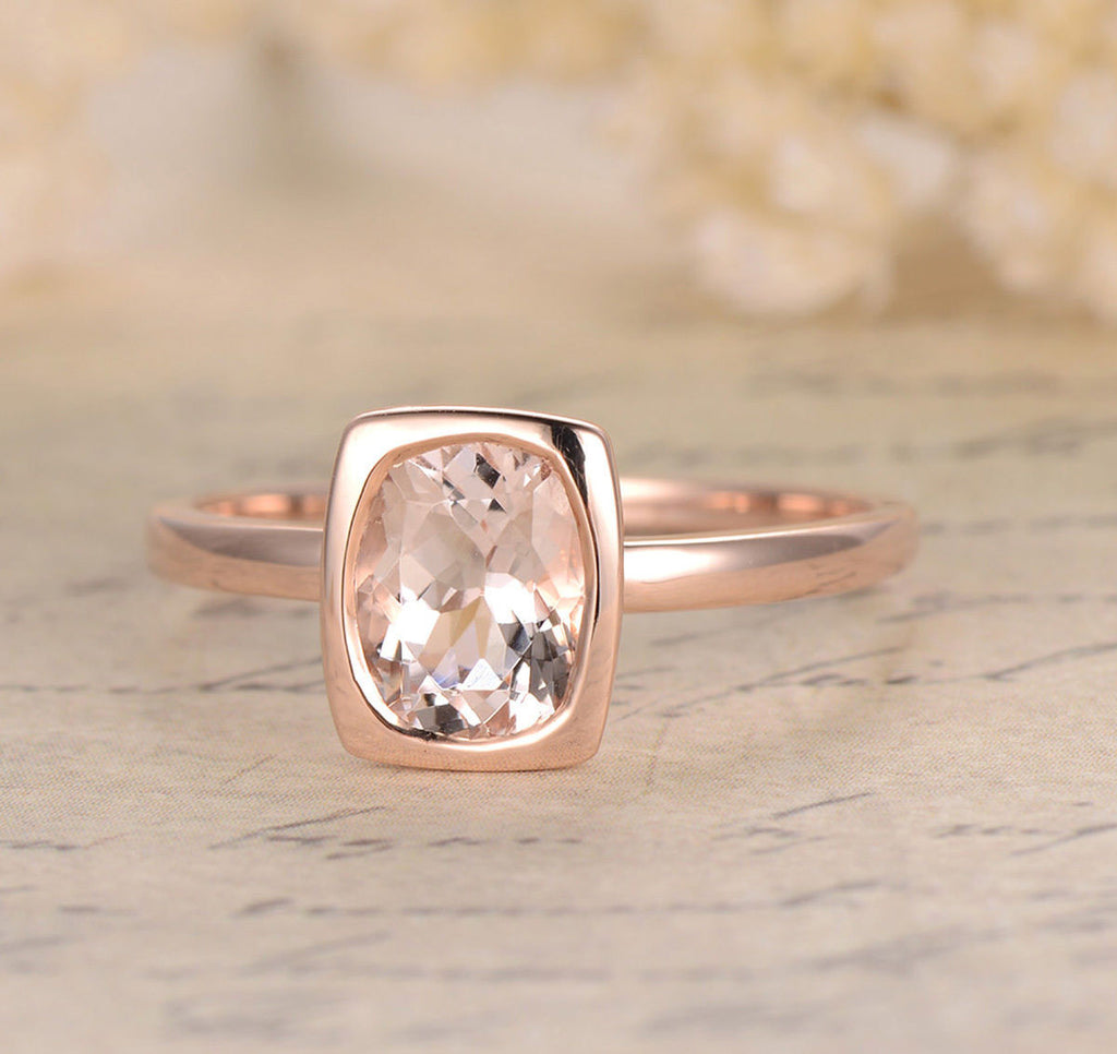 Oval Morganite Engagement Ring 14K Rose Gold 6x8mm  Bezel Set - Lord of Gem Rings - 1