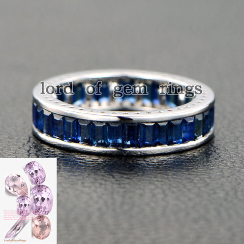 Emerald Cut Blue Sapphire Wedding Band Eternity Anniversary Ring 14K White Gold - Lord of Gem Rings - 1