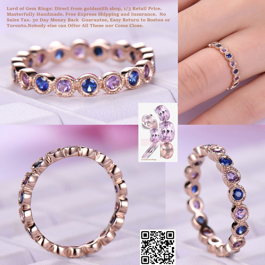 Reserved for Cristi  Bezel Blue Sapphire/Amethyst Half Eternity Anniversary Ring 14K Rose Gold