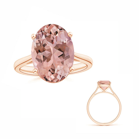 Reserved for GY- 8x12mm Solitaire Oval Morganite Ring in 18K Rose Gold
