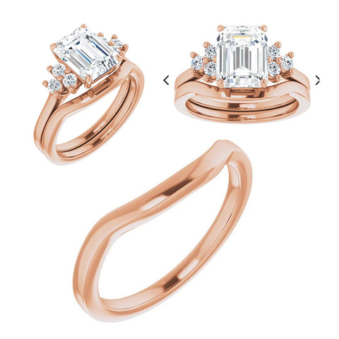 Reserved for GY- 7x9mm Emerald Cut Morganite Ring Diamond Accent Engagement Ring with Contour Matching Band 14K Rose Gold