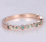 Tsavorite(Garnet) Wedding Band Half Eternity Anniversary Ring 14K Rose Gold