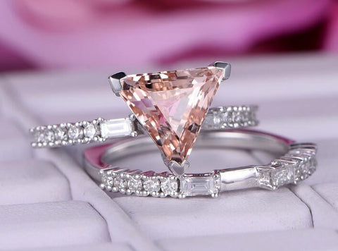 Reserved for steven Straight Trilllion 4th payment Peach Morganite Engagement Ring 14K White Gold