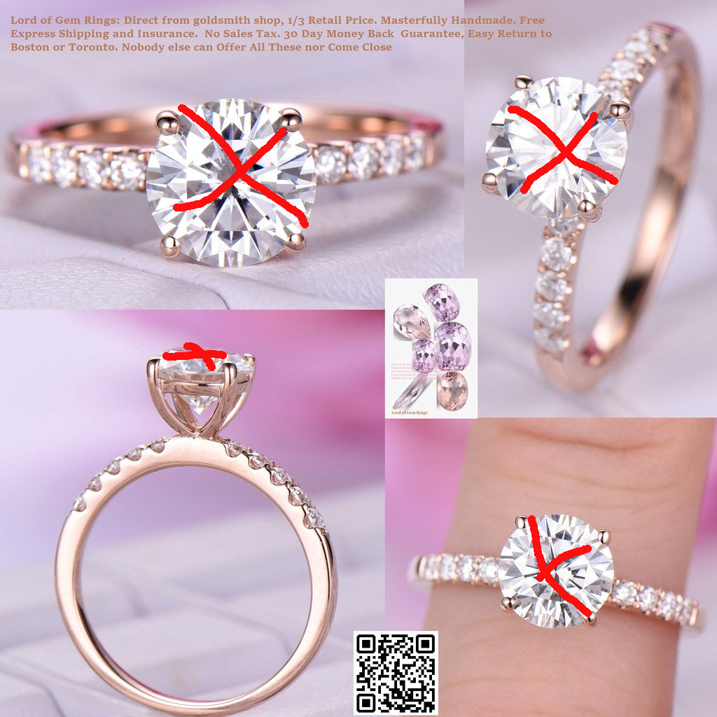 Reserved for AAA - Round Moissanite Engagement Ring Pave Moissanite Shank 14K Gold 7.5mm