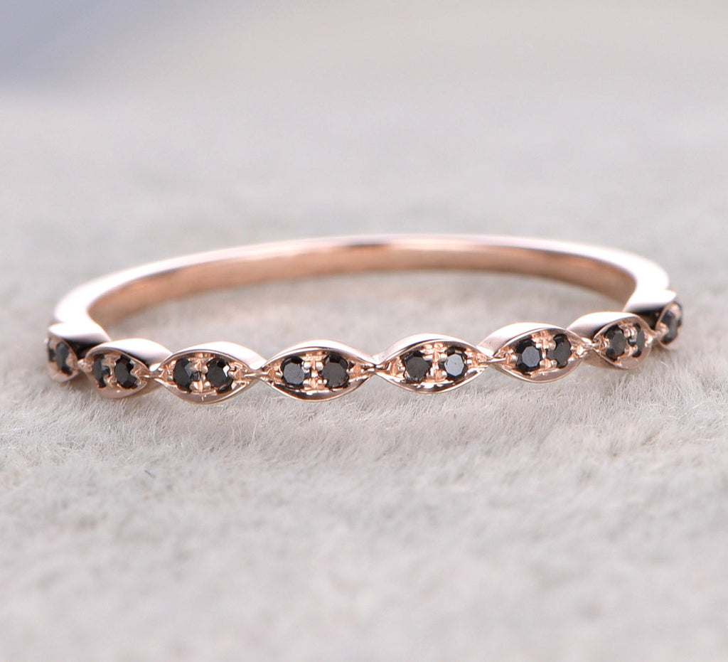 Black Diamond Wedding Band Half Eternity Anniversary Ring 14K Rose Gold