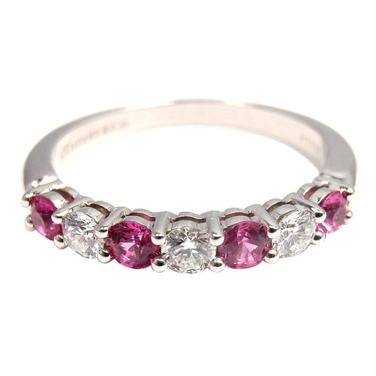 Reserved for Wai, Pink Sapphire and diamond Wedding Band Half Eternity Anniversary Ring - Lord of Gem Rings