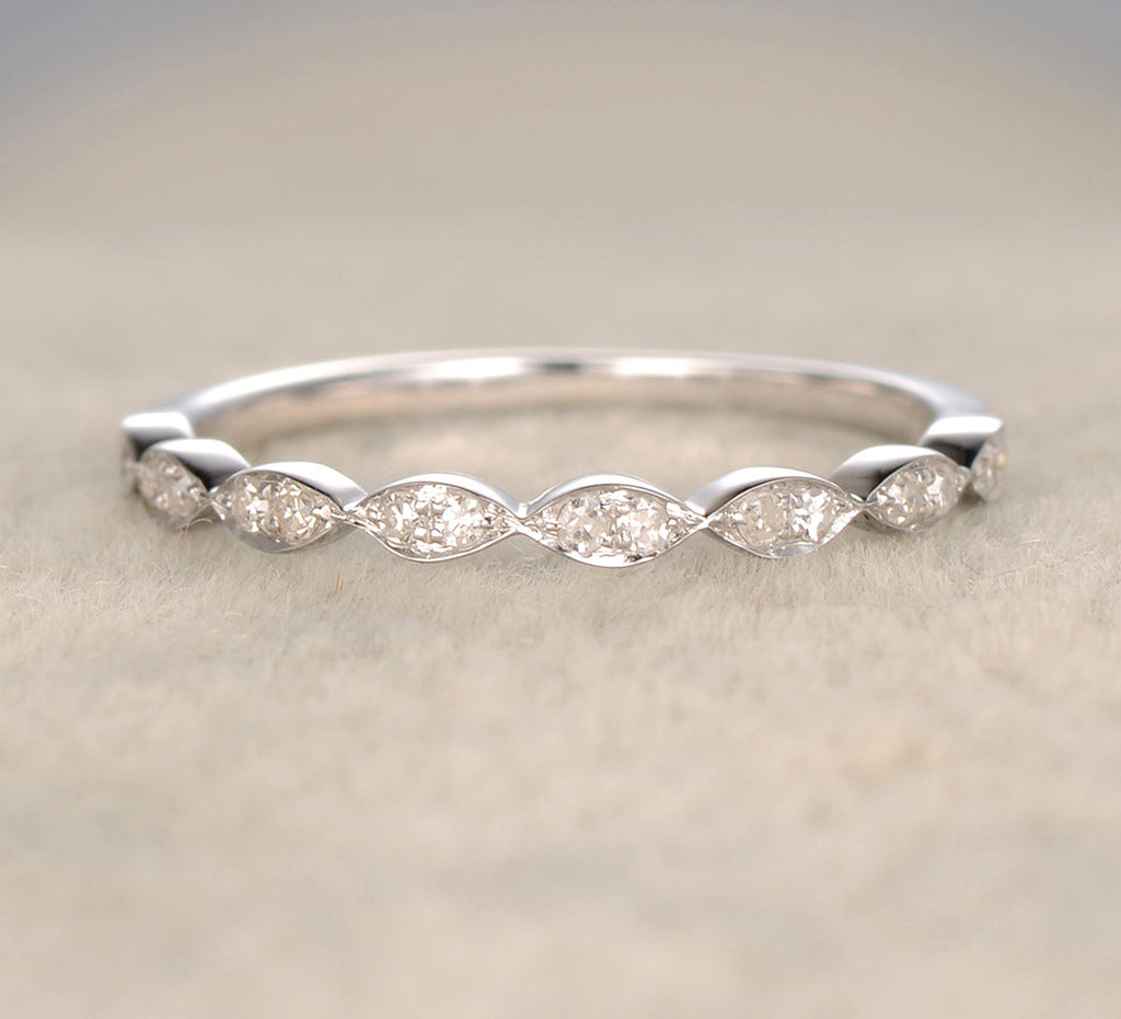 Reserved for Chris Pave Diamond Wedding Band Art Deco Half Eternity Ring 14K White Gold