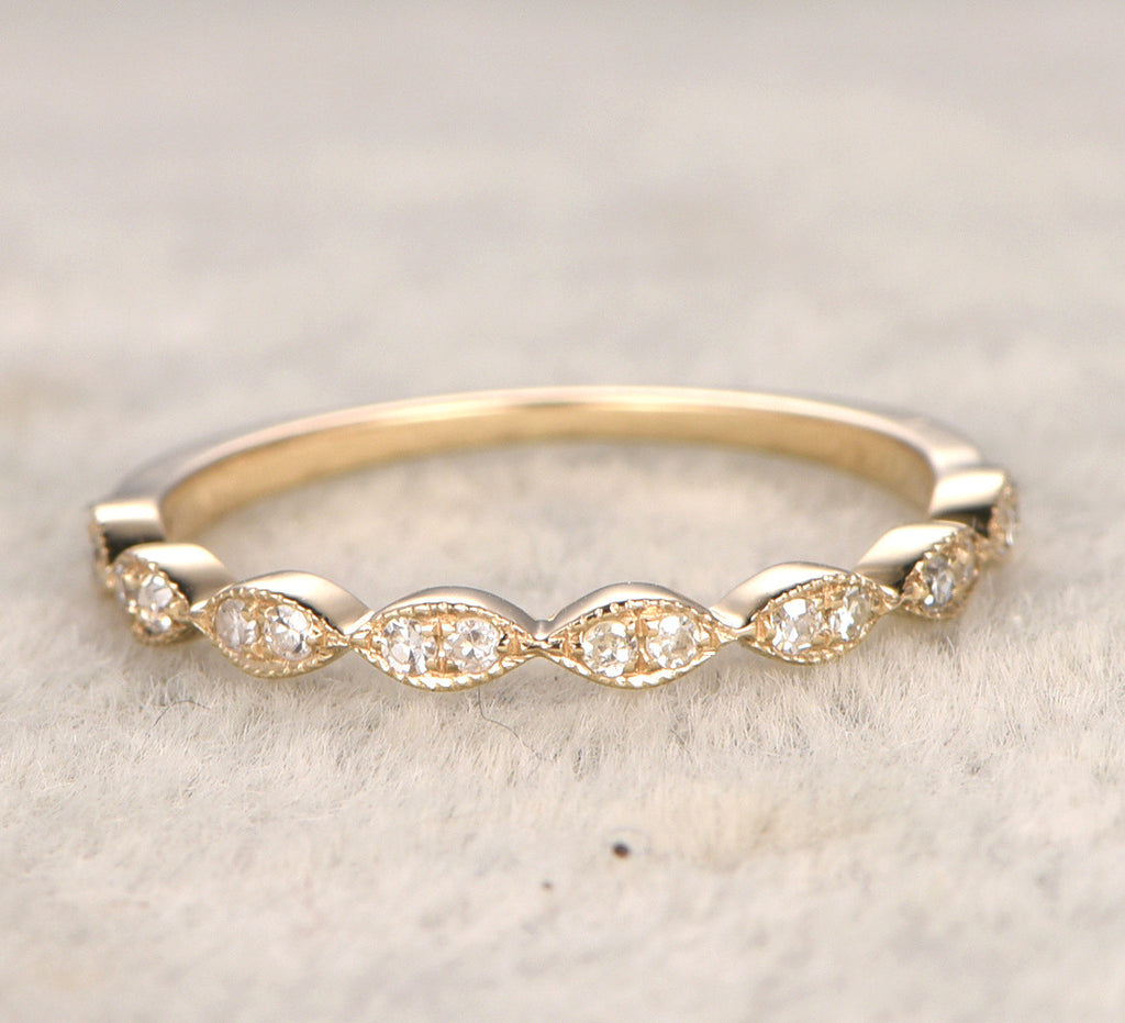 Pave Diamond Wedding Band Half Eternity Anniversary Ring 14K Yellow Gold
