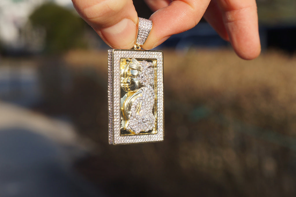 lab cash out hip iced product diamond hop styles pendant money gold bag chain wholesale dollar necklace