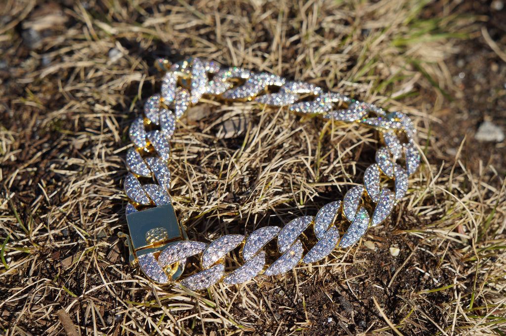 Iced Out 14k Gold Cuban Link Bracelet – Ice Jewelry Co