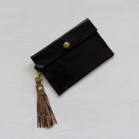 Accessory Bag || Black Leather Hide + Tassel