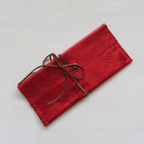 Accessory Bag || Red Leather Hide + Brown Wrap