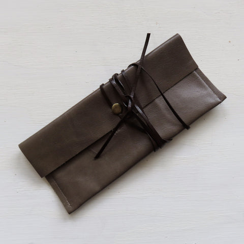 Accessory Bag || Greyish Green Leather Hide + Brown Wrap