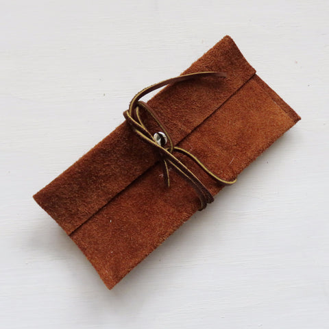 Accessory Bag || Brown Suede Hide + Brown Wrap