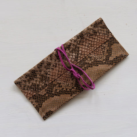 Accessory Bag || Brown Snake Print Hide + Pink Wrap
