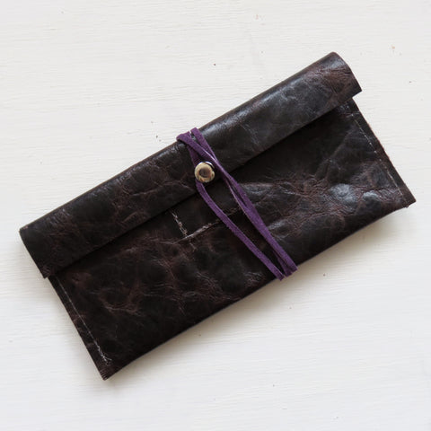 Accessory Bag || Brown Leather + Purple Wrap