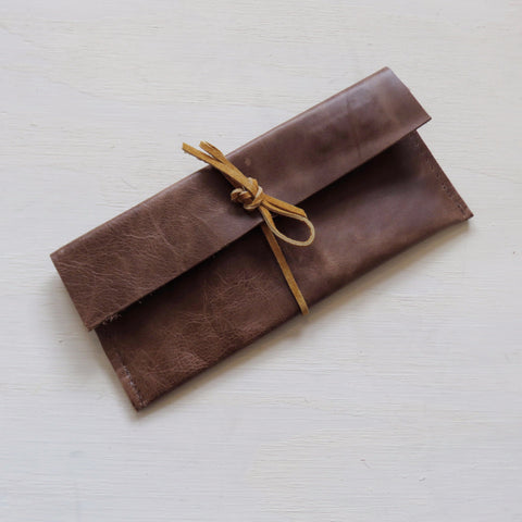 Accessory Bag || Brown Leather + Tan Wrap