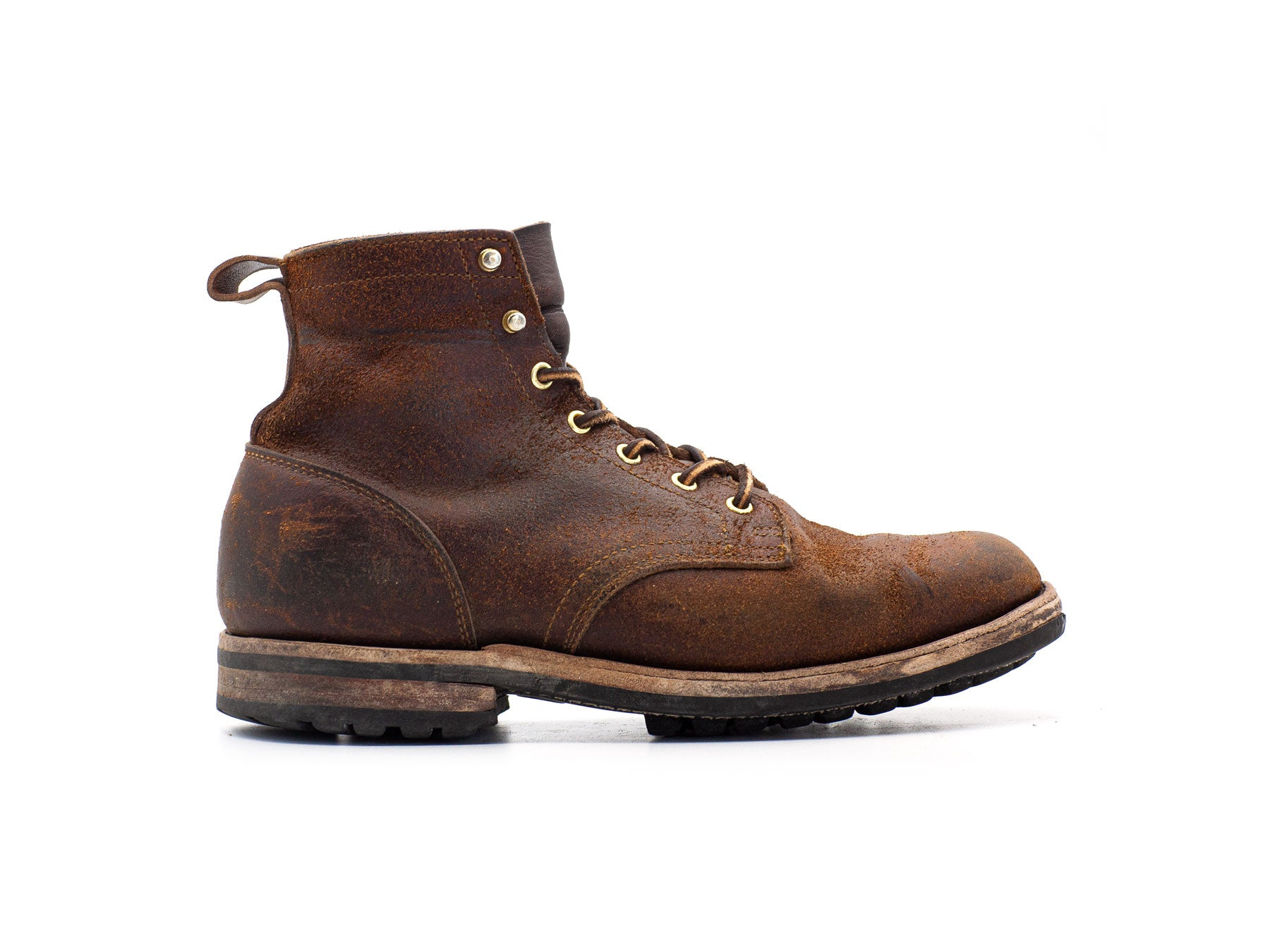 Chestnut waxed flesh boot worn in