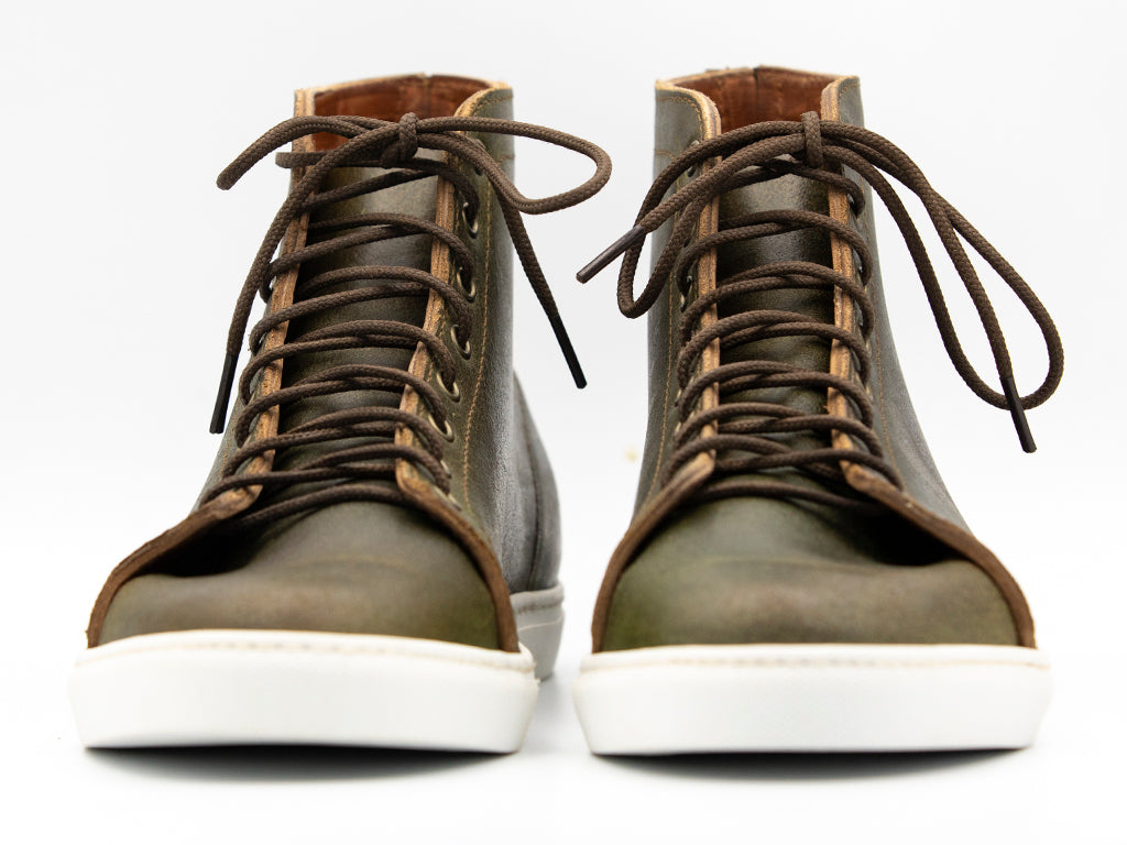 Olive Waxed Flesh High Top Sneaker