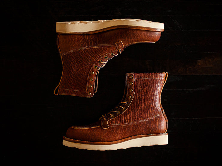 Ready to Ship: Cognac Shrunken Bison Gun Boot 9D