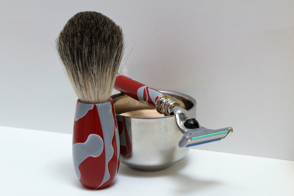 Buckeye Shaving Set; Badger Hair Brush, Razor, Stainless Steel Bowl, with Shaving Soap