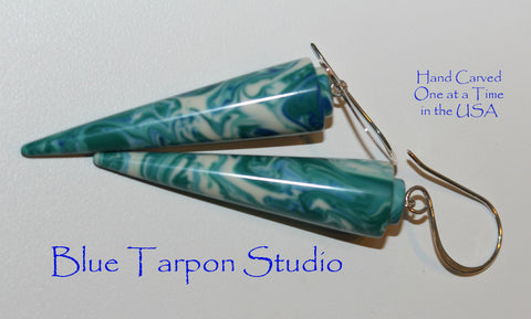 Blue Swirl Amphora Earrings