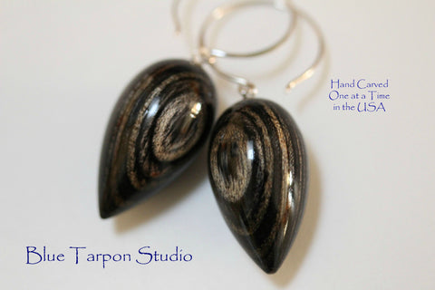 Charcoal Pod Earrings, Handcarved