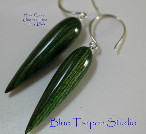 Green Spike Earrings