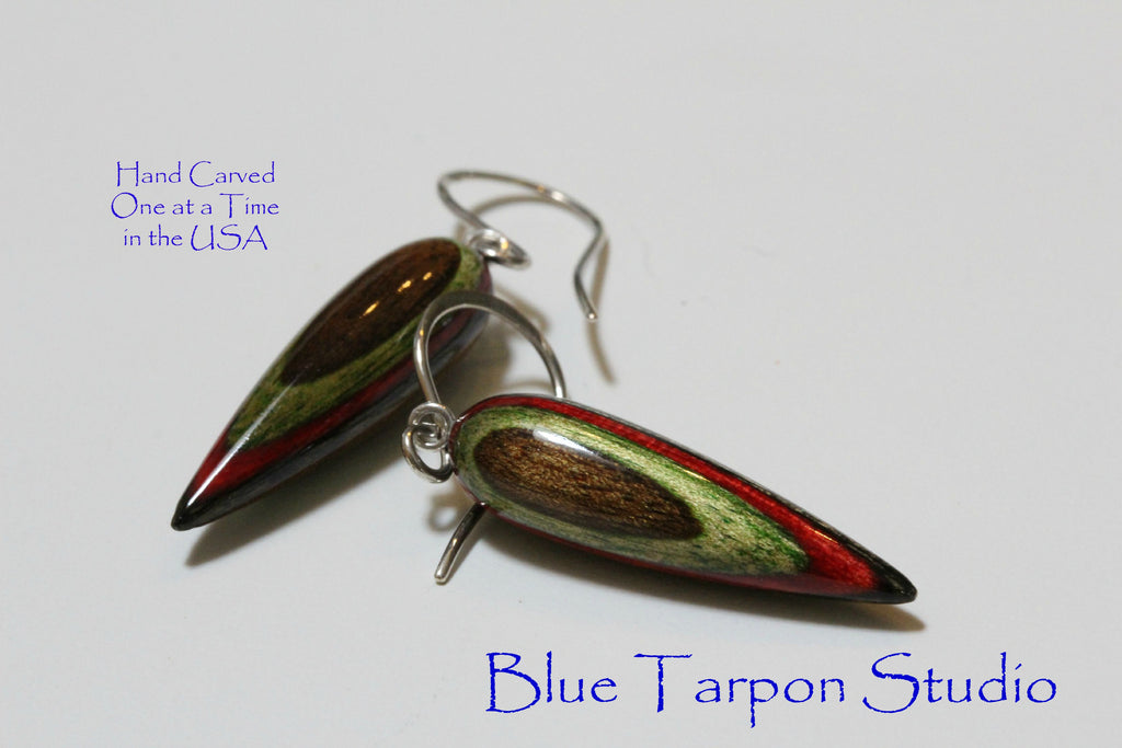 Holiday Colors earrings, hand carved