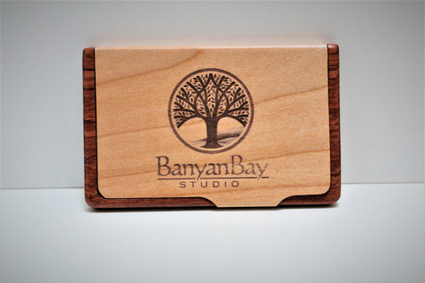 Business Card Holder - Rosewood and Maple