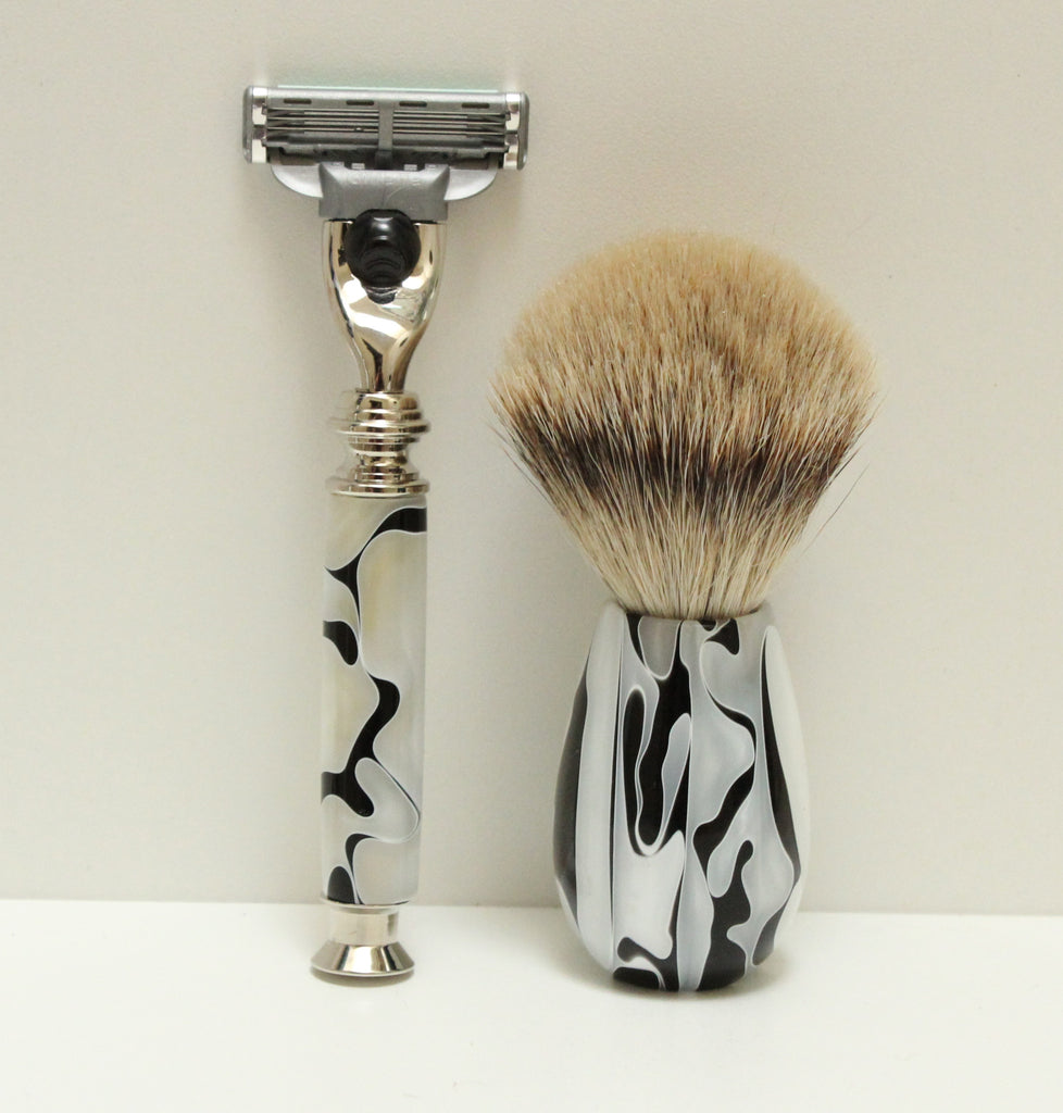 Shaving Set, Ink Blot Resin Handles