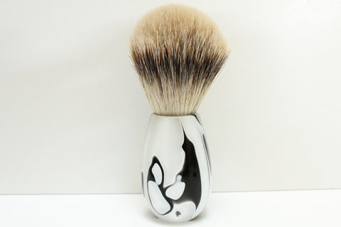 Badger Hair Shaving Brush, Ink Blot Resin Handle