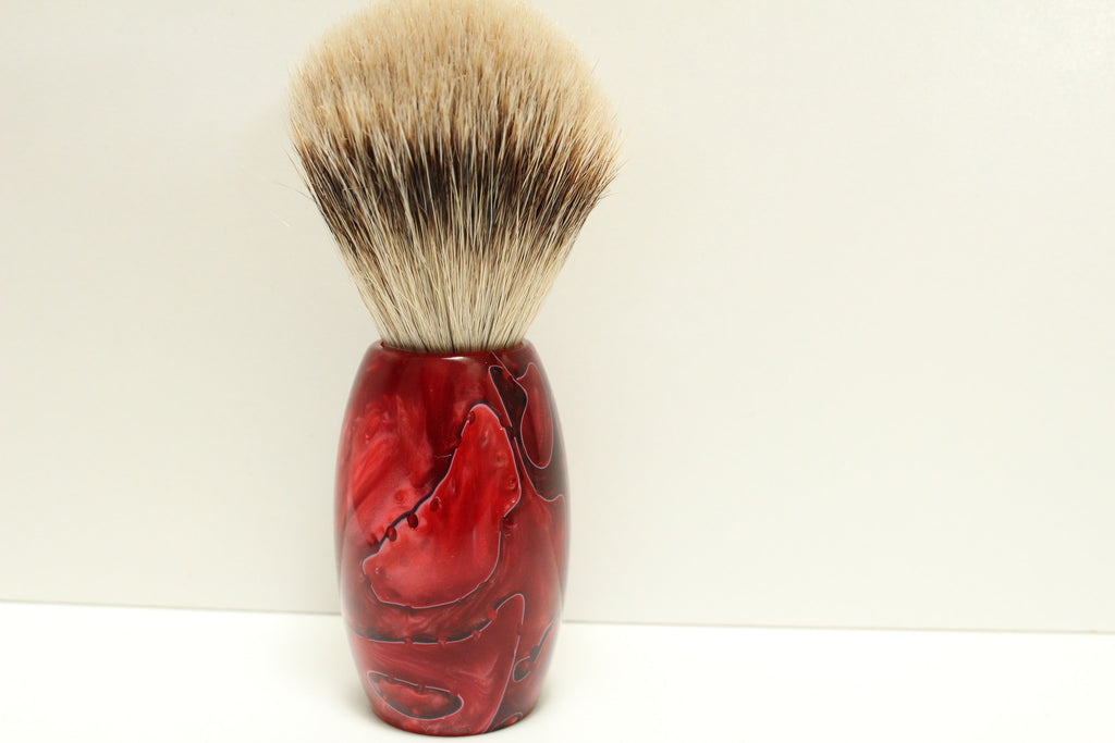 Badger Hair Shaving Brush, Red Lava Resin