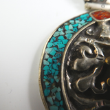 Tribal Pot Silver Pendant with Amber and Turquoise.