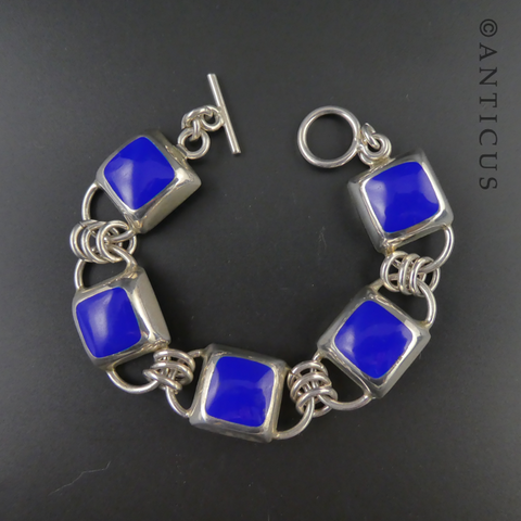 Mexican Silver and Blue Enamel Link Bracelet.
