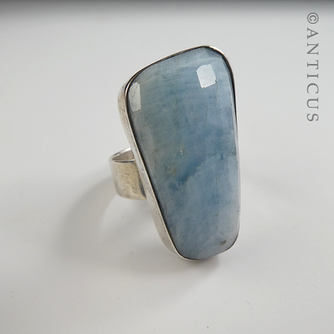 Blue Quartz and Sterling Silver Ring.