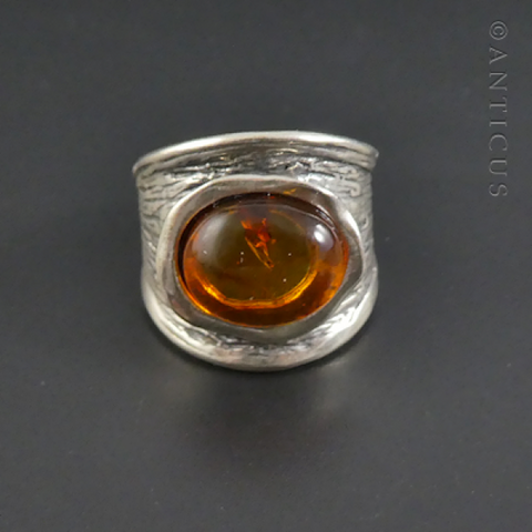 Amber and Silver Modern Ring.