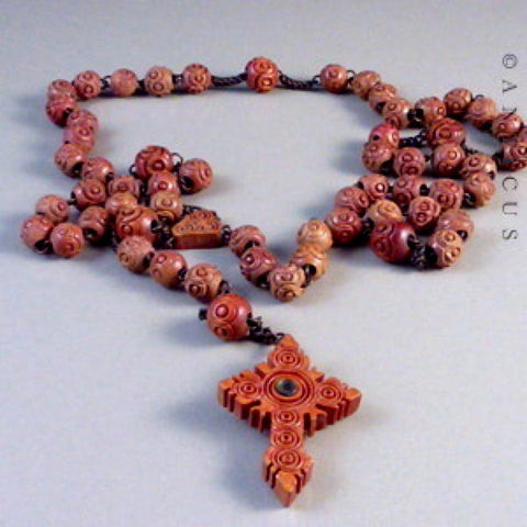 Antique Carved Rosary Beads with Stanhope.