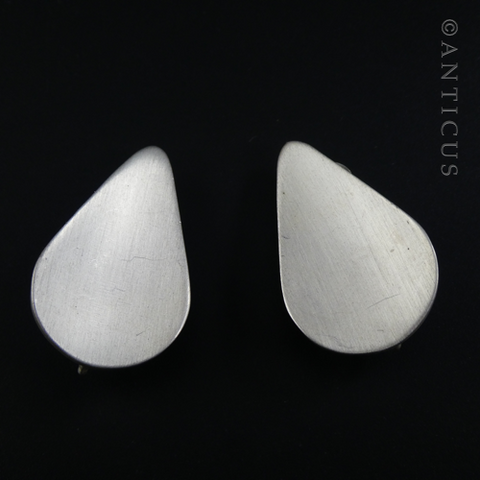 Pair of Brushed Silver Clip-on Earrings.