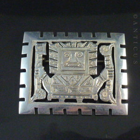 Sterling Silver Large Peruvian Inca Brooch.