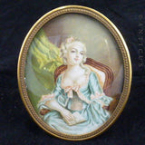 Antique French Portrait Miniature, Young Woman with Book.