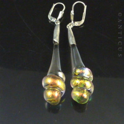 Dichroic Glass and Silver Earrings.